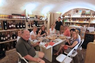 Wine tasting in an old wine cellar