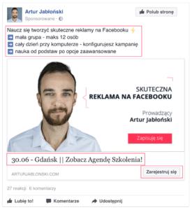 Tytuł, opis, cta – reklama na Facebooku  Grafiki reklamowe na Facebooku – wskazówki i wytyczne screen z opisem gdzie co si   znajduje 275x300
