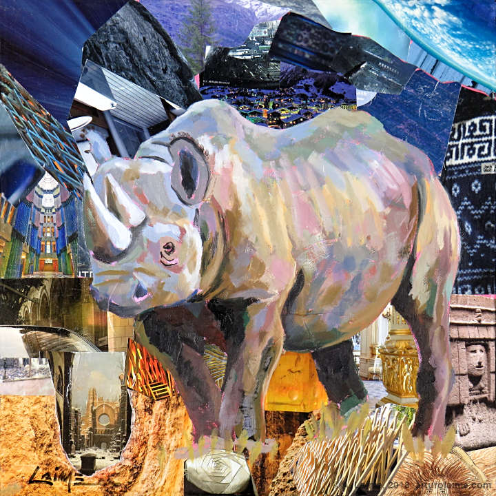 Black rhino painting