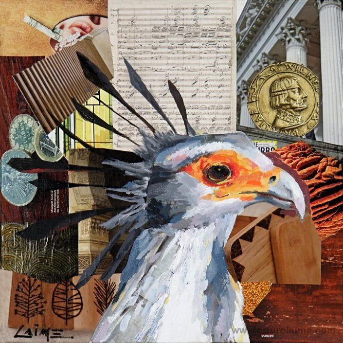 Secretary bird painting