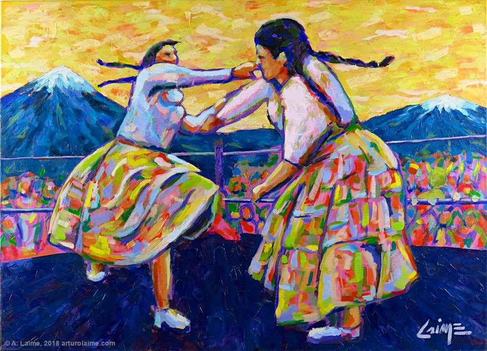 The Fighter Cholitas painting
