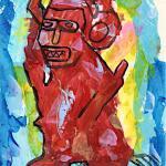 Red idol artwork on paper