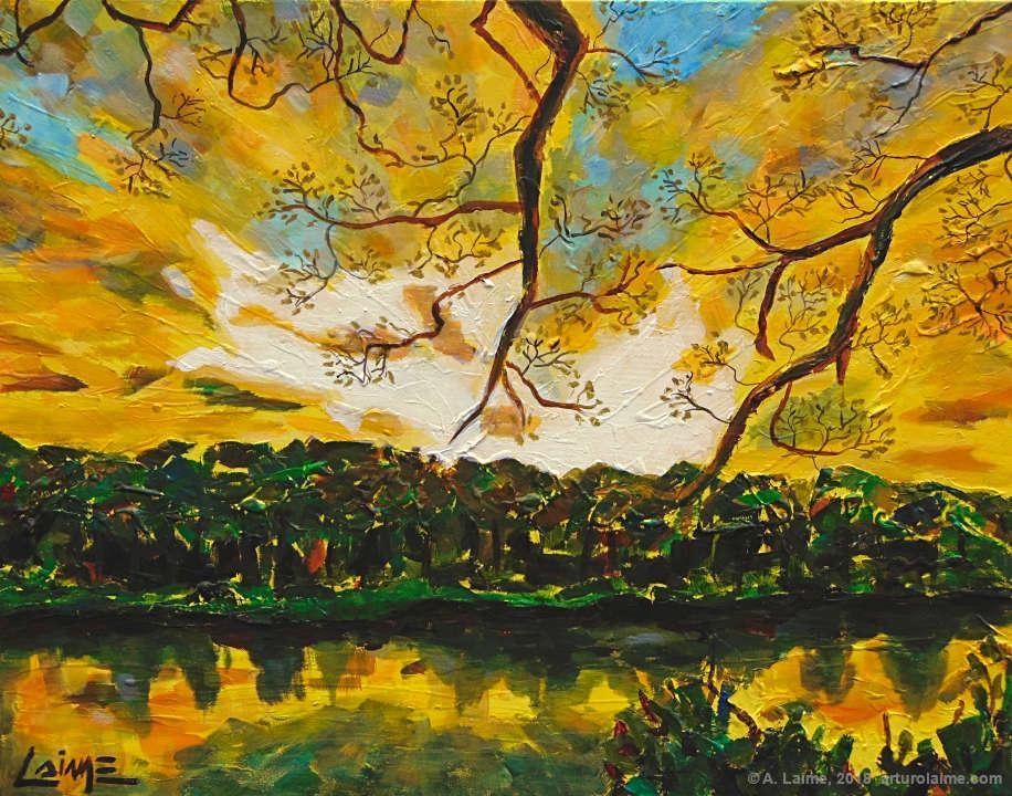 Amazonischen Sonnenuntergang Gemälde