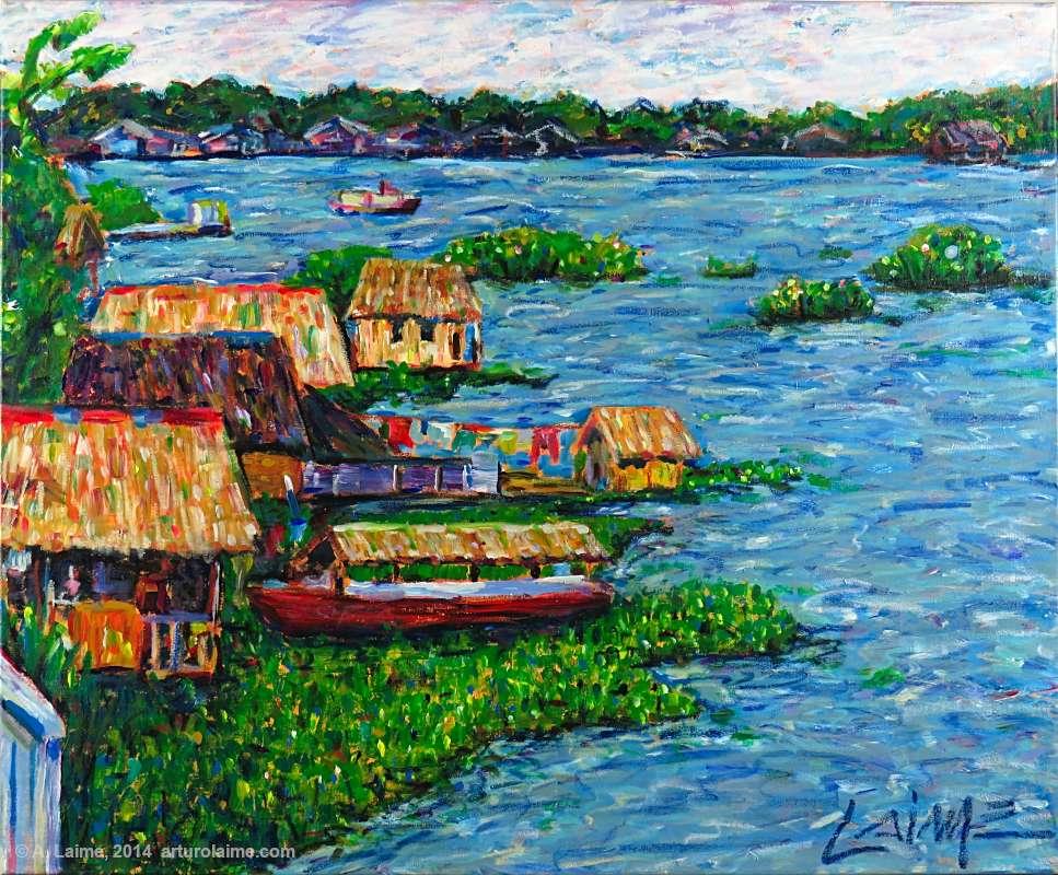 Schwimmende Häuser in der Amazonas Gemälde