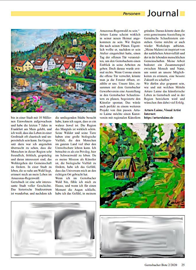 Arturo Laime im Gernsbacher Bote 10072020 Blatt 25