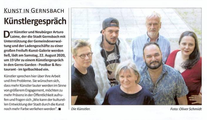 Arturo Laime im Gernsbacher Stadtanzeiger 20082020