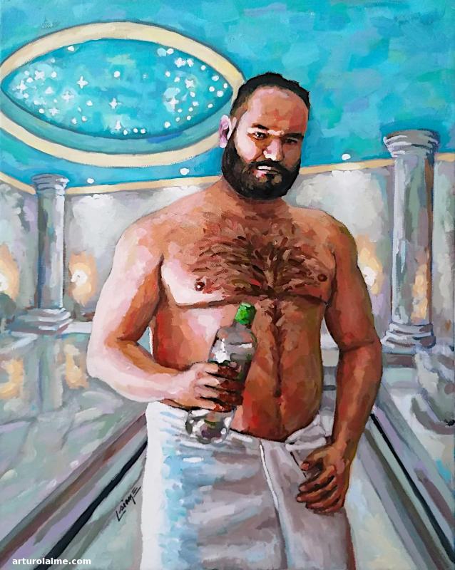 Selbstporträt in Hamman von Arturo Laime