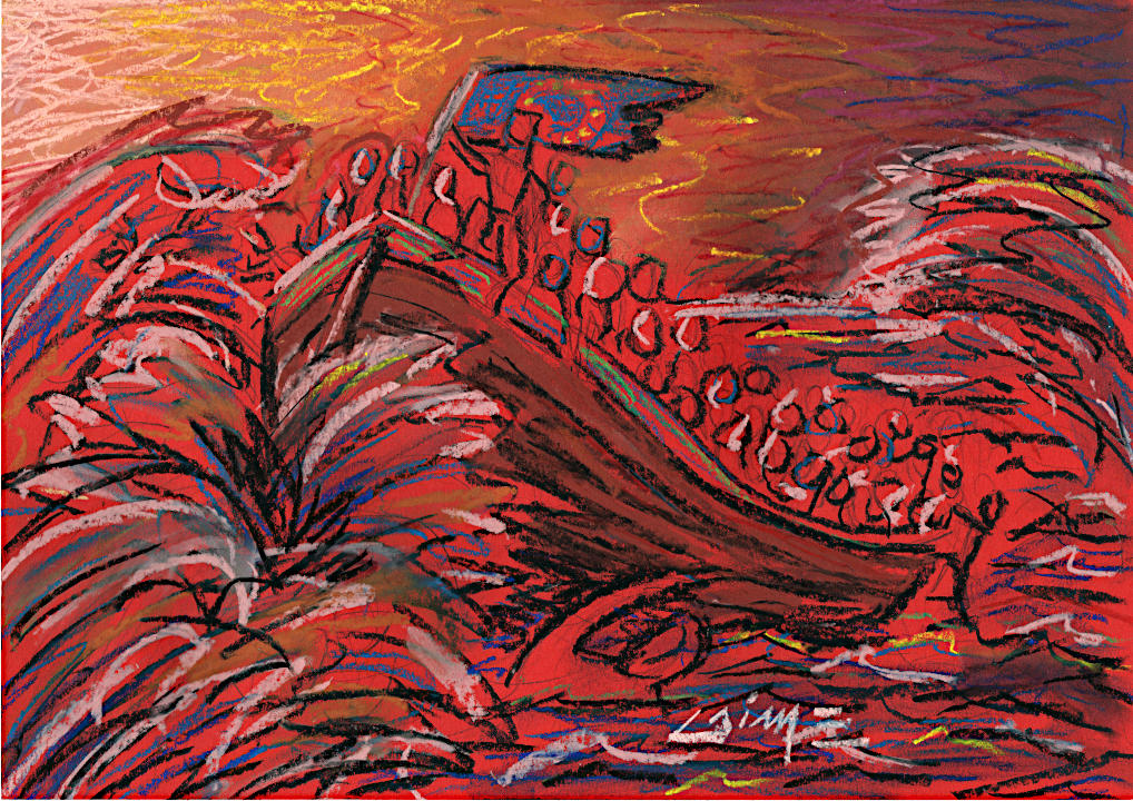 Flüchtlinge im Meer von Arturo Laime