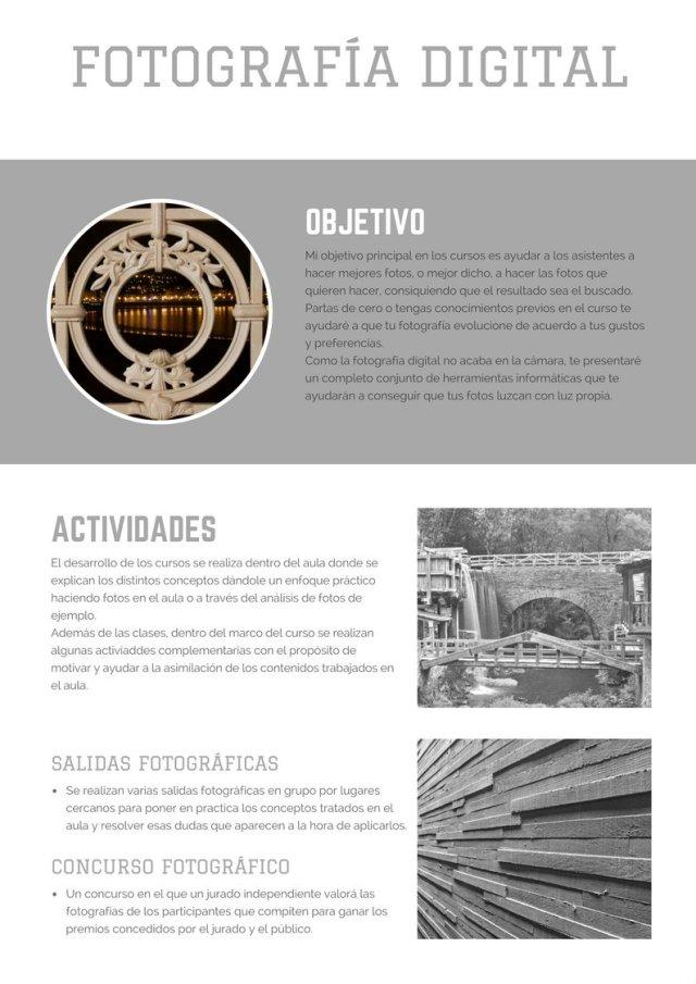 Cartel curso fotografía
