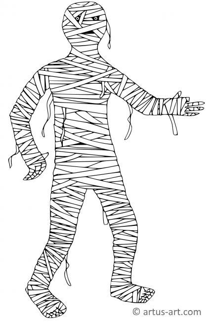 Mummy Coloring Page Printable Coloring Page Artus Art