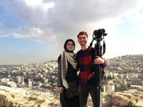 Akram with sister, Thawab Shibly in Amman, Jordan filming of Waiting at the Door, December 2014