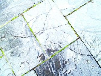 Three adjacent pavers in the Niagara Falls State Park, all exhibiting cracks.
