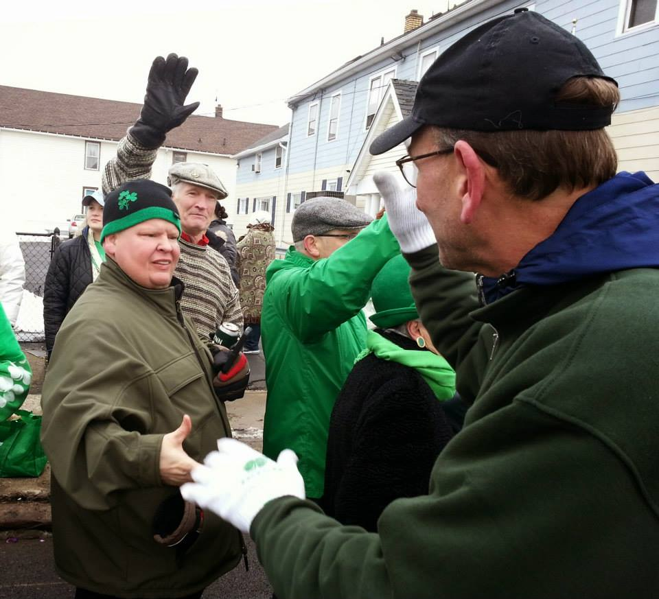 Comptroller Mark Schroeder at the St. Patrick's Day Parade in the Old First Ward.