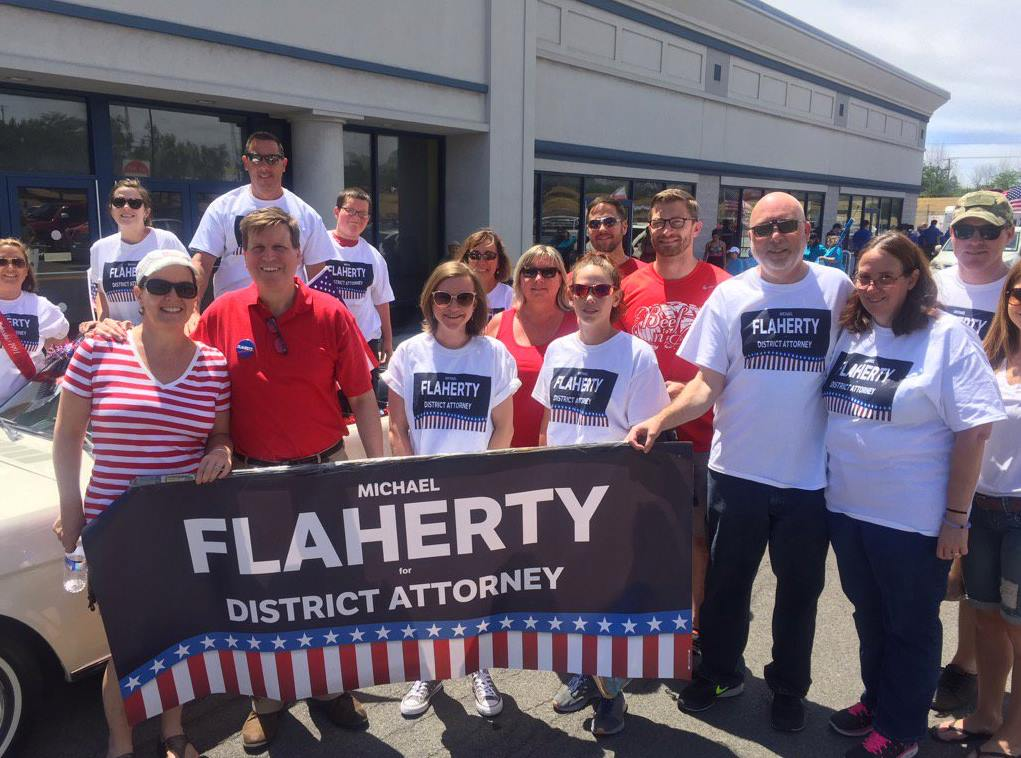 Acting District Attorney Mike Flaherty with supporters.