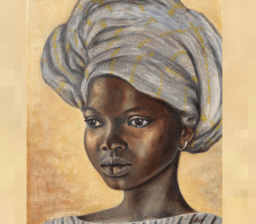 Portrait of a girl wearing a headscarf (1955) by Akinola Lasekan