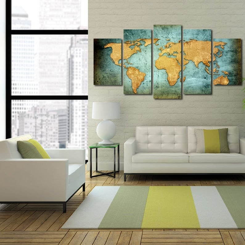World Map Xxl Canvas Print Artwall And Co