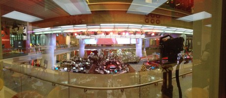 A panoramic of the newsroom taken from the Media Cafe