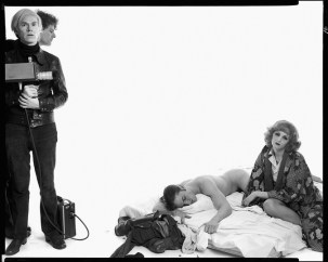 Andy Warhol, artist; Paul Morrissey, director; Joe Dallesandro, actor; Candy Darling, actor, New York, May 21, 1970, 1993, gelatin silver print, 34 x 42 inches, Udo and Anette Brandhorst Collection © 2014 The Richard Avedon Foundation