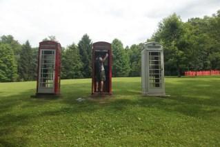 Kentuck Knob sculpture garden - Jesse inside the phone booths