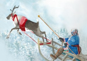 Native reindeer driver with flying reindeer