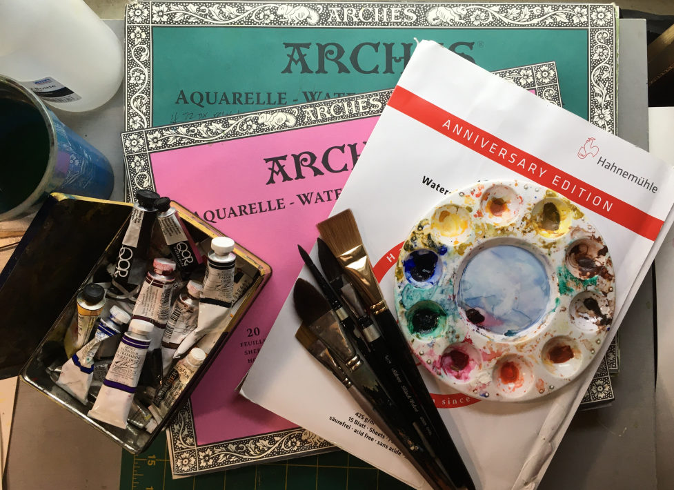 watercolor painting supply still life