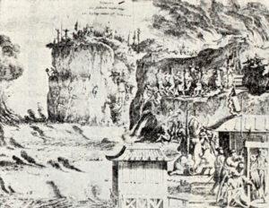 1669年アムステルダムで発行されたモンタヌスの「日本誌」に掲載された「雲仙地獄の殉教」図