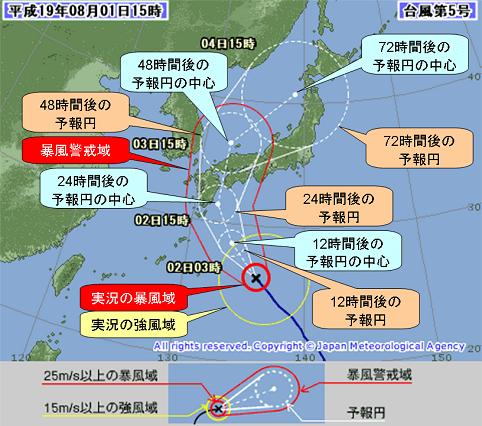 台風の進路予報表示の例