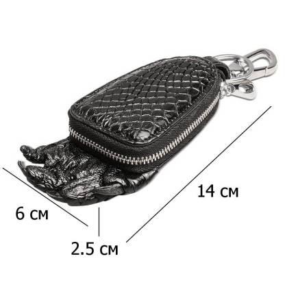 Кошелек-ключница из крокодиловой кожи ArtX Crocodile черный #182-1