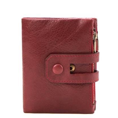Кошелек кожаный c защитой ArtX RFID красный #181-3
