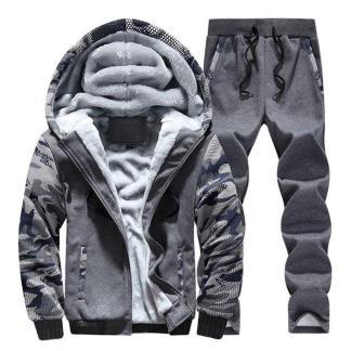 Тёплый спортивный костюм на меху ArtX Camo серый #311-44
