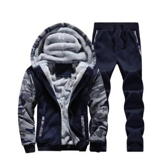 Тёплый спортивный костюм на меху ArtX Camo темно-синий #313-40