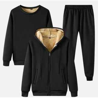 Cпортивный костюм тройка на меху ArtX #317-1 черный