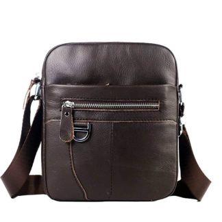 Мужская кожаная сумка через плечо ArtX CrossBody коричневая #074-2