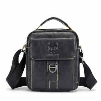 Мужская кожаная сумка ArtX Captain черная #075-1