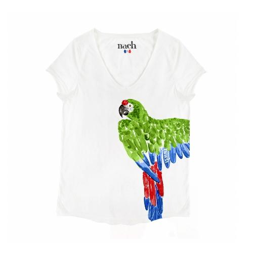 nach-t-shirt-perroquet-vert-coton-bio-col-en-v-artydandy