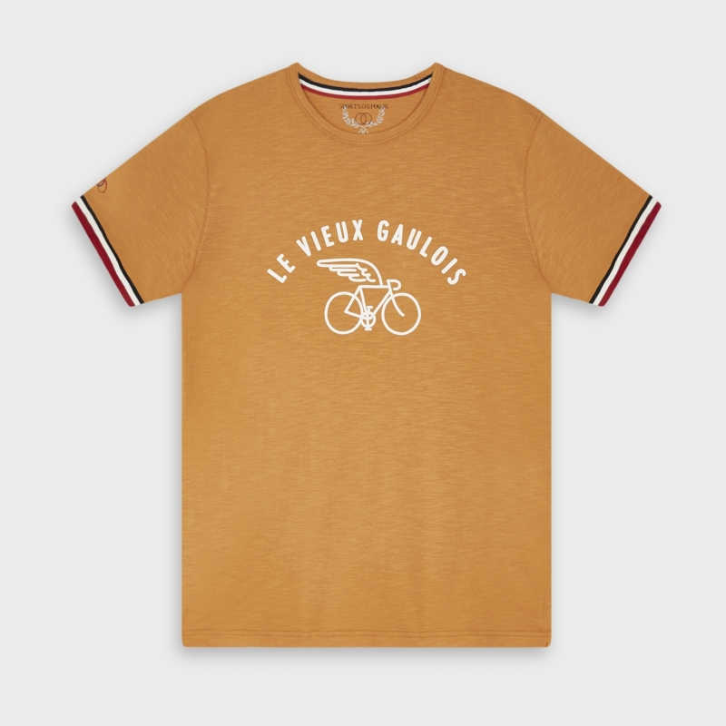 T-shirt-Sports-d-Epoque-Vieux-Gaulois-Velo-Aile-Orange-artydandy