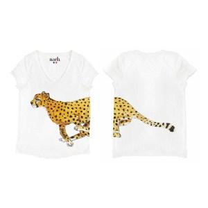 Nach-tee-shirt-coton-bio-col-V-dessin-guepard-Cheetah-artydandy