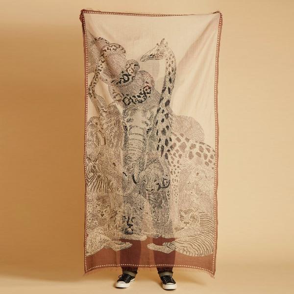 Inouitoosh-foulard-coton-chocolat-ete-2021-balto-animaux-savane-artydandy