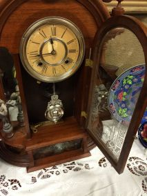 Ansonia Triumph Clock With Original Etched Door,Factory Label And Mirrored Sides