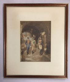 original-watercolour-by-thomas-mackay-england-1851-1909-the-garrison-gate1