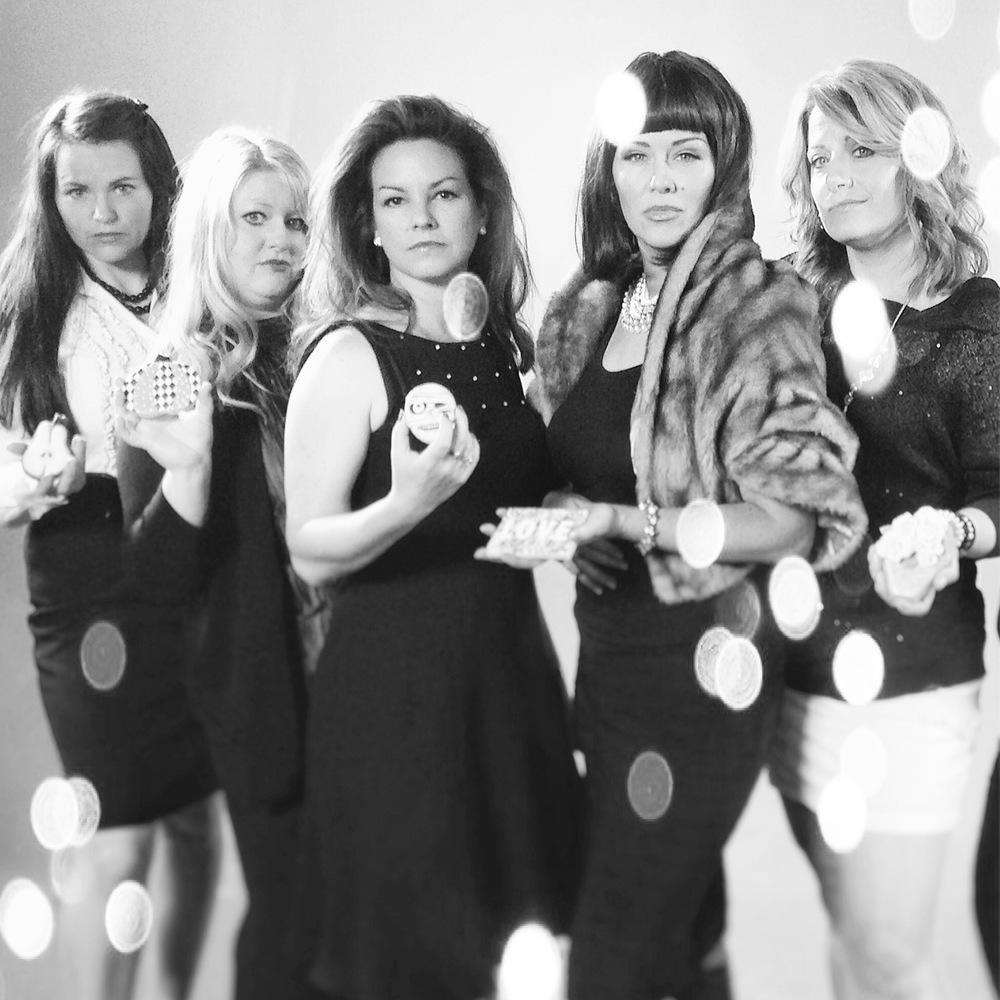 L - R Georganne Bell of  LilaLoa , Kim Russo of  Kookie Kreations by Kim , Laura Ewing of  Cadillac Cookies , Arty McGoo, & Andrea Garner of  Bella Cakes