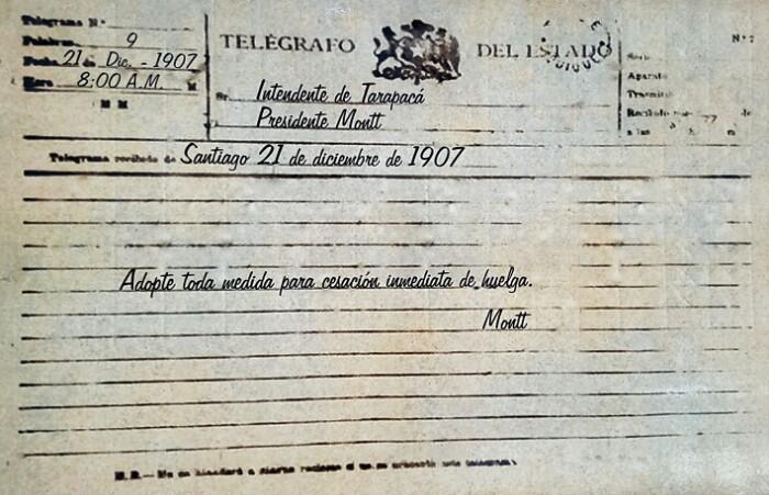 Museo Regional-eko posterra: Txileko Presidentearen telegrama. Iquique, Txile.