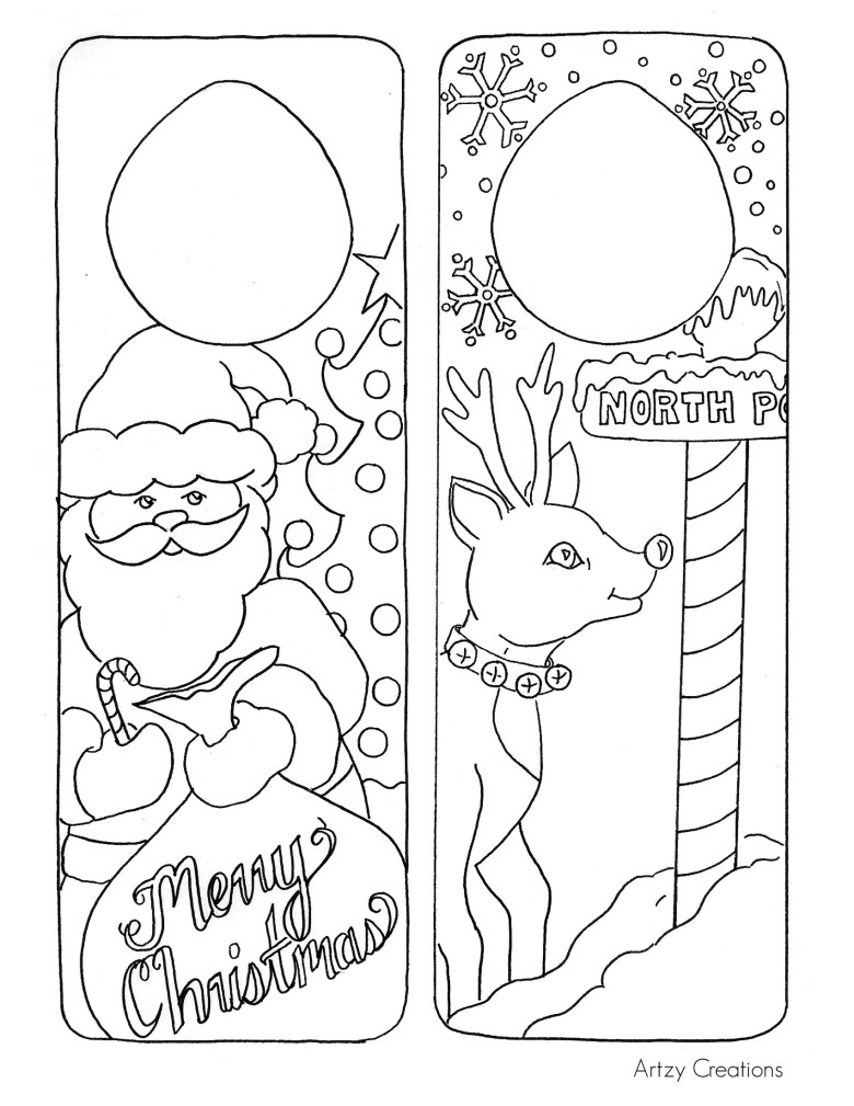 christmas coloring page - door hanger printables - the 36th avenue