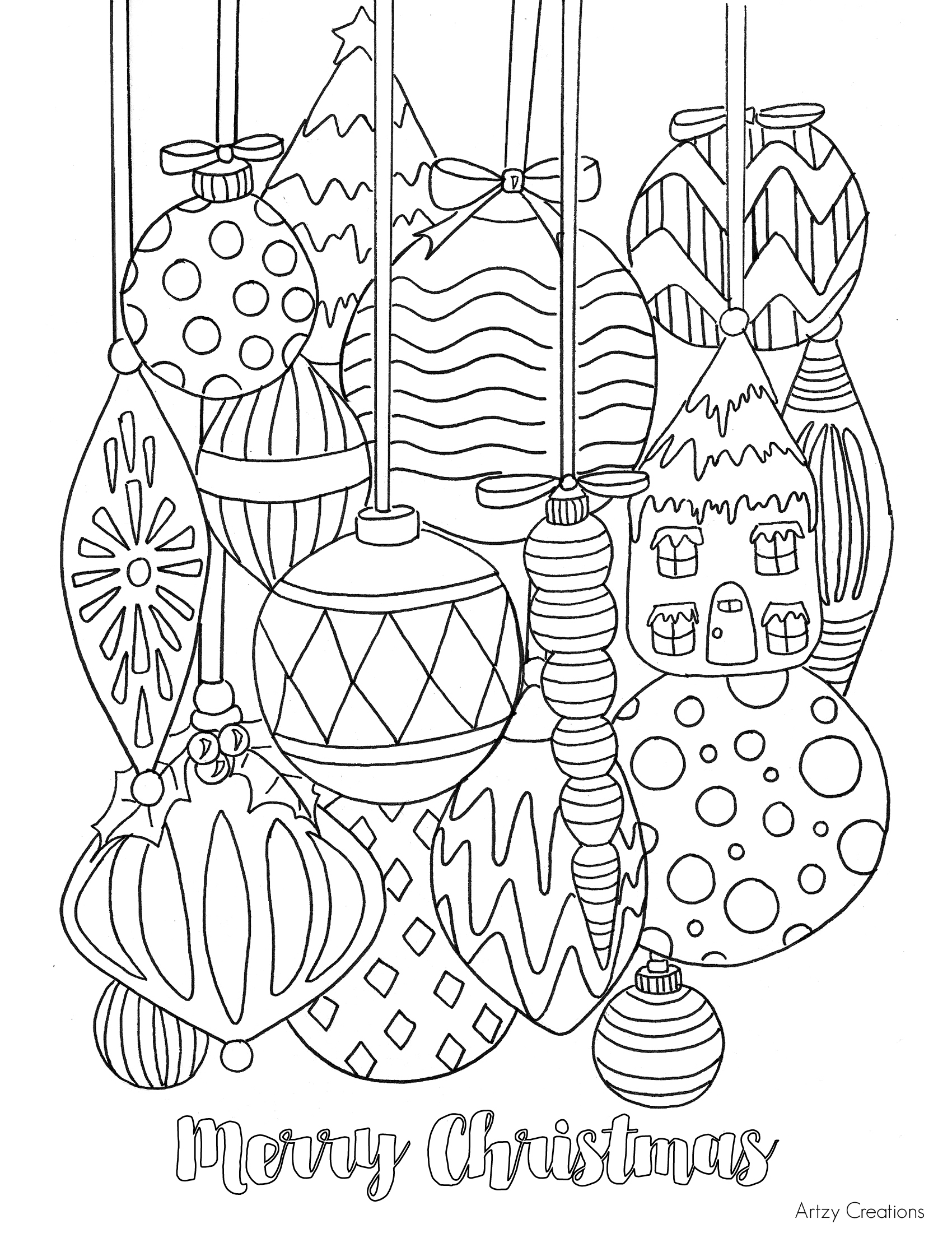 This is a picture of Coloring Pages Christmas Ornaments Printable in large