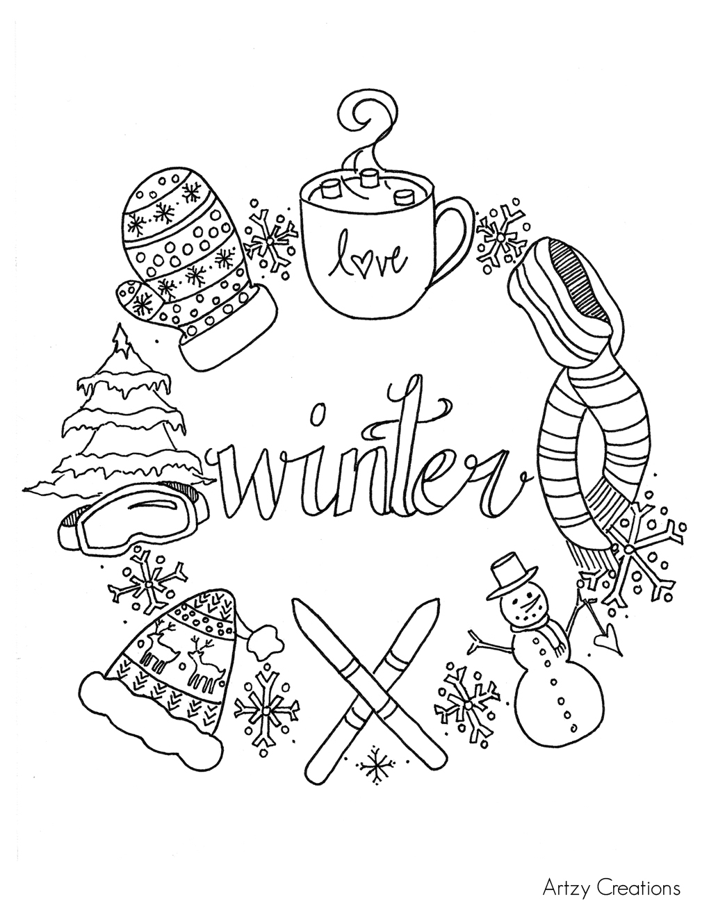 free winter coloring page artzycreations com