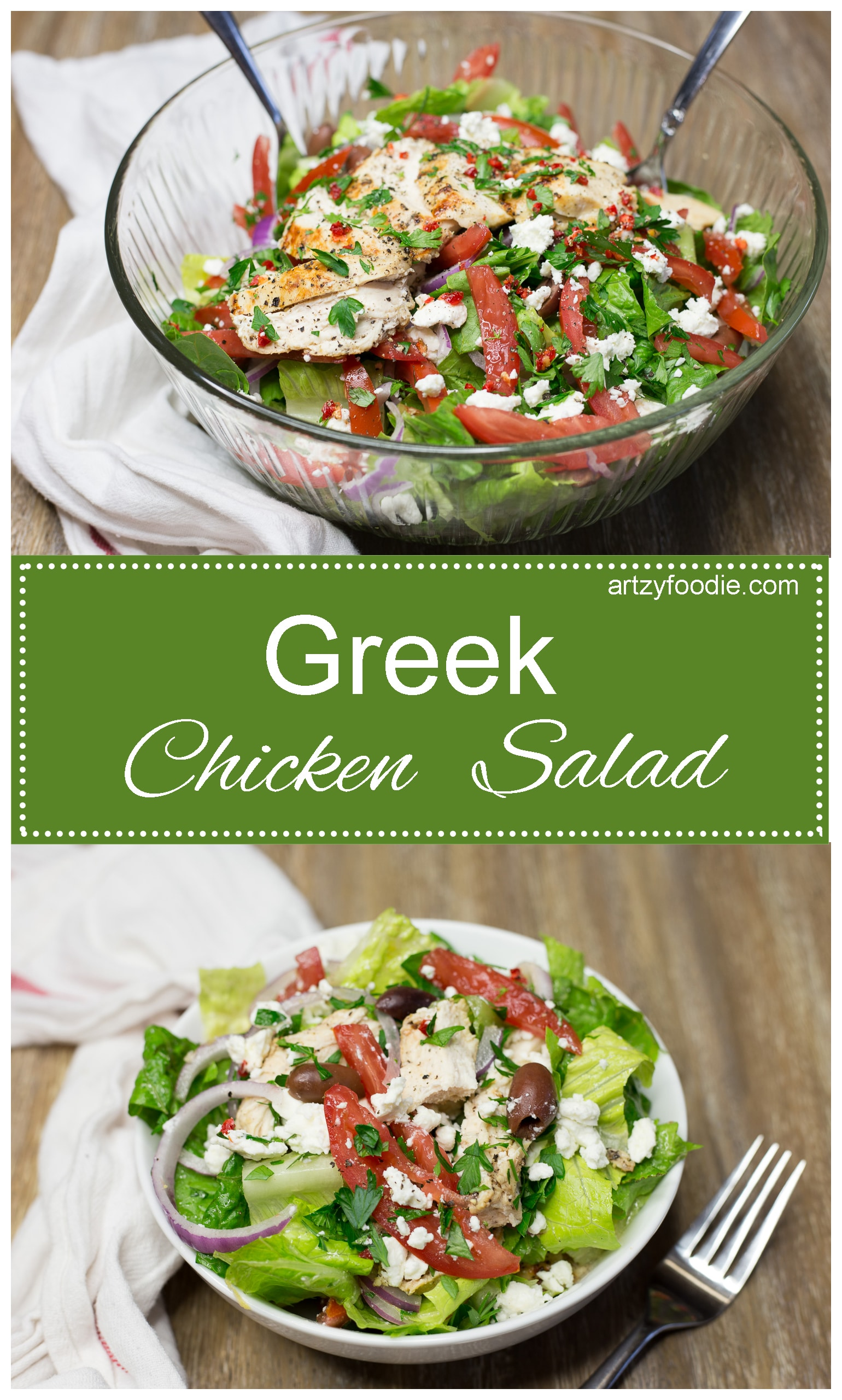 Greek chicken salad is a fresh, hearty salad that is sure to satisfy your hunger! |artzyfoodie.com|