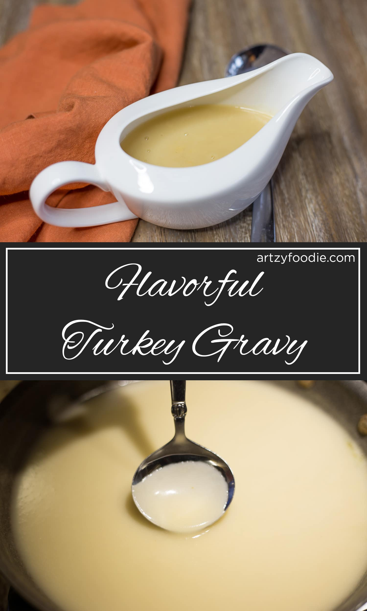 This gravy made with turkey drippings and turkey stock is like an early Christmas present for your tummy (and your taters)! |artzy foodie.com|