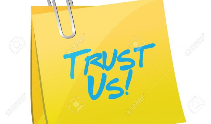 trust us post message illustration design over a white background