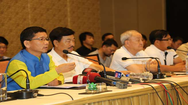 Kalikho Pul Address a Press Conference With 43 MLAs