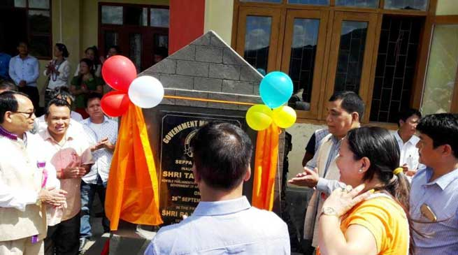 Tapuk Taku inaugurated Govt. Model Degree College Seppa